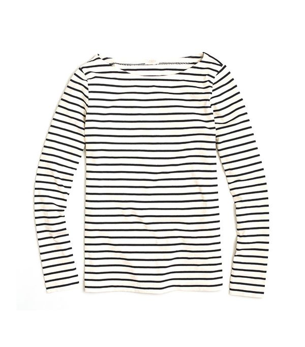 J.Crew Long-Sleeve Striped Boatneck T-Shirt