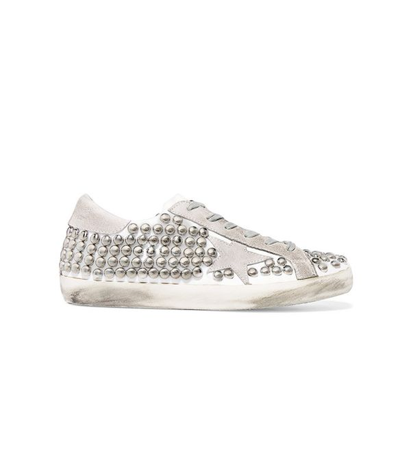Golden Goose Deluxe Brand Super Star Studded Distressed Leather-Paneled Suede Sneakers