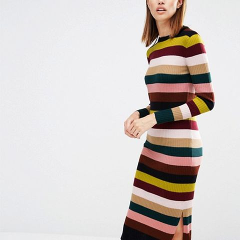 Rib Knit Dress in Multi Stripe