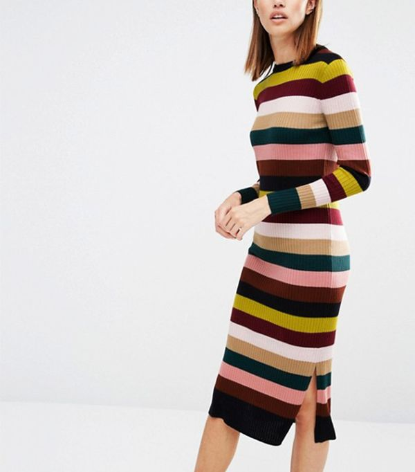 Whistles Rib Knit Dress in Multi Stripe