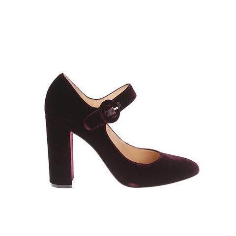 Burgundy Velvet Mary Jane Pumps