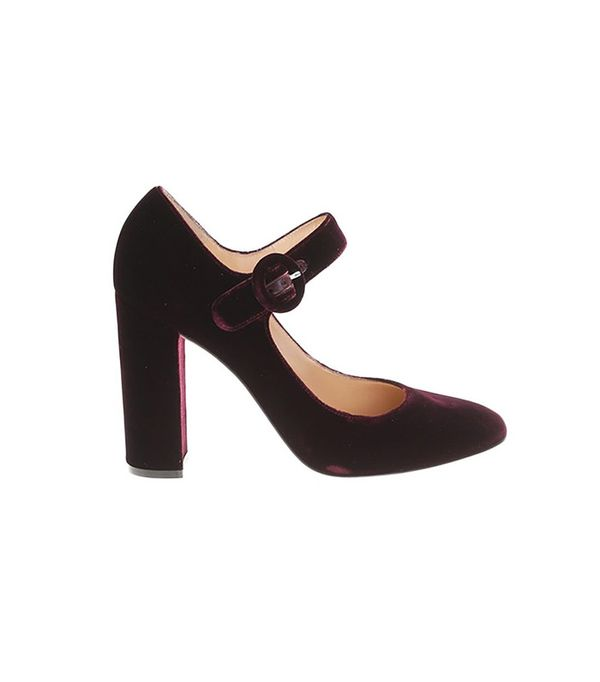 Gianvito Rossi Burgundy Velvet Mary Jane Pumps