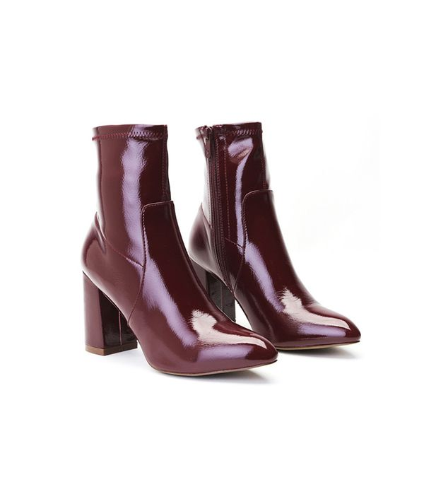 Public Desire Raya Pointed Toe Ankle Boots in Bordeaux Patent