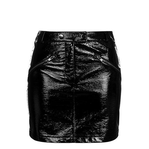Vinyl Zip Pocket Mini Skirt