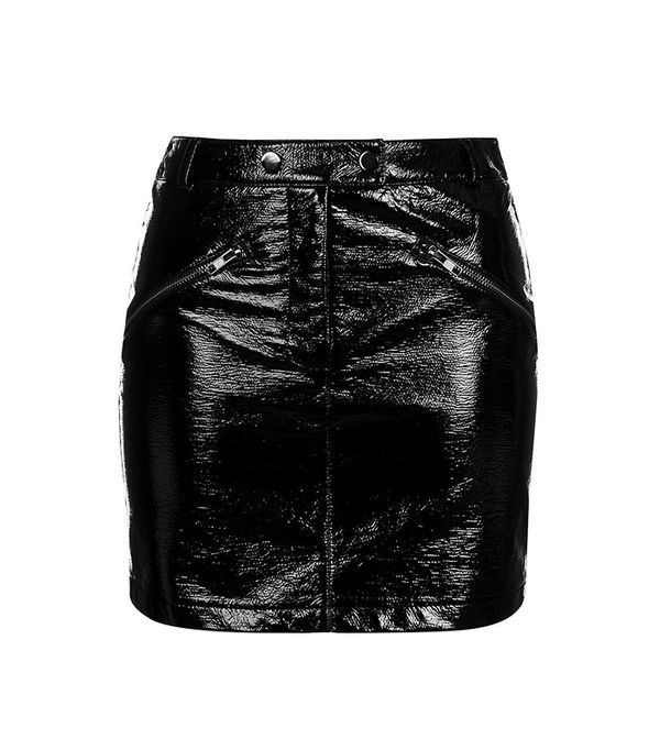 Topshop Vinyl Zip Pocket Mini Skirt