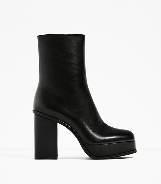 Zara Leather Ankle Boots with Lined Platform