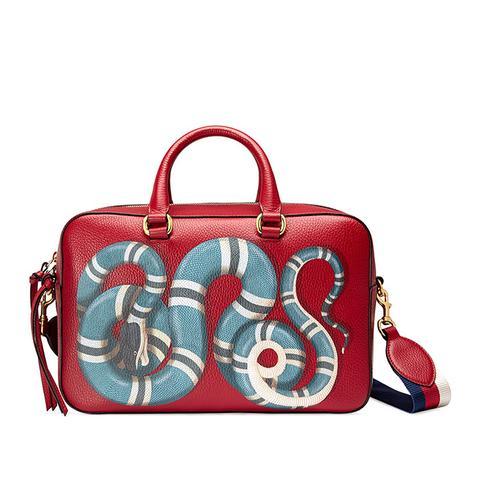 Snake Print Leather Top Handle Bag
