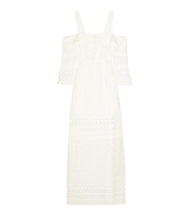 Self-Portrait Off-The-Shoulder Cotton-Blend and Guipure Lace Maxi Dress
