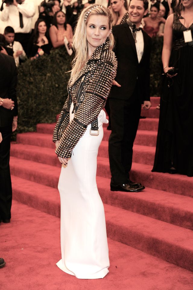 On Sienna Miller: Burberry dress and jacket.