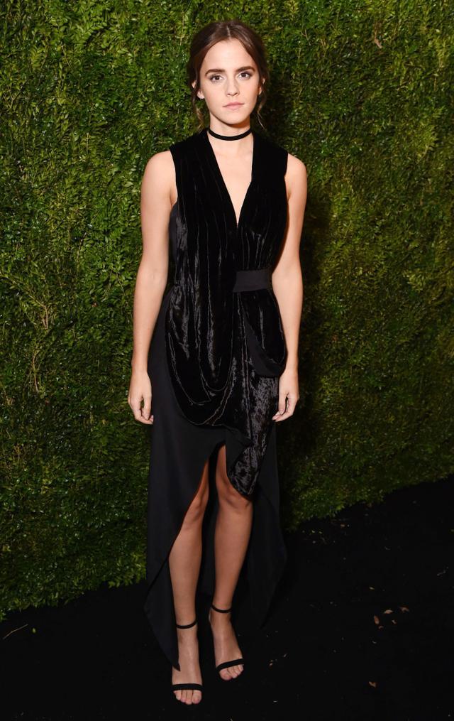 On Emma Watson:Kitx Spring 2017 dress; Stuart Weitzman NearlyNude Sandals($398).