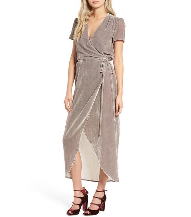 Wayf Next to You Velvet Wrap Dress