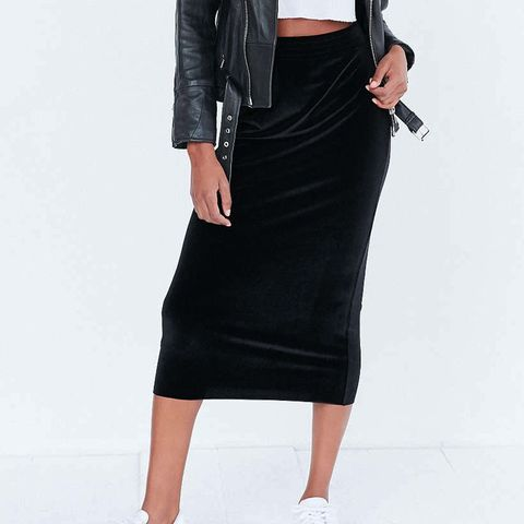 Velvet Pull-On Column Midi Skirt