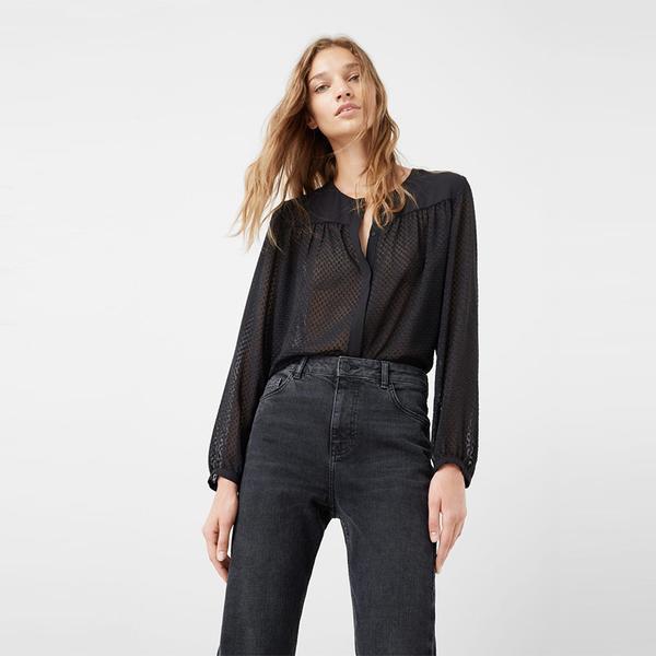Zara High Collar Blouse