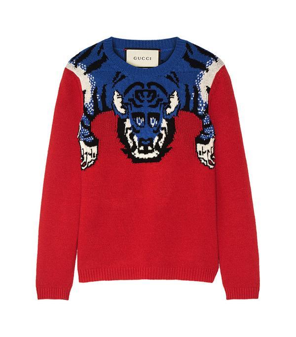 Gucci Embellished Intarsia Wool Sweater