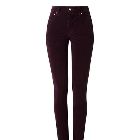 High Waisted Velvet Skinny Trousers