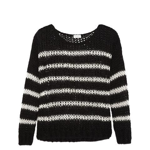 Striped Open-Knit Wool-Blend Sweater