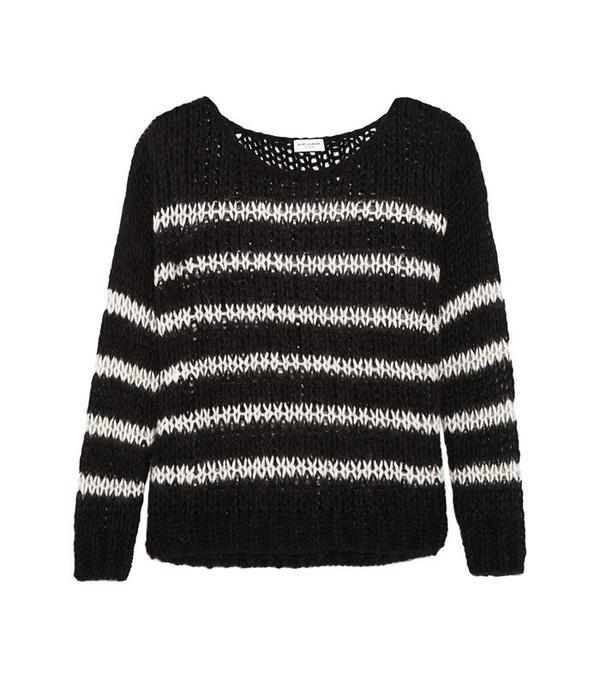 Saint Laurent Striped Open-Knit Wool-Blend Sweater