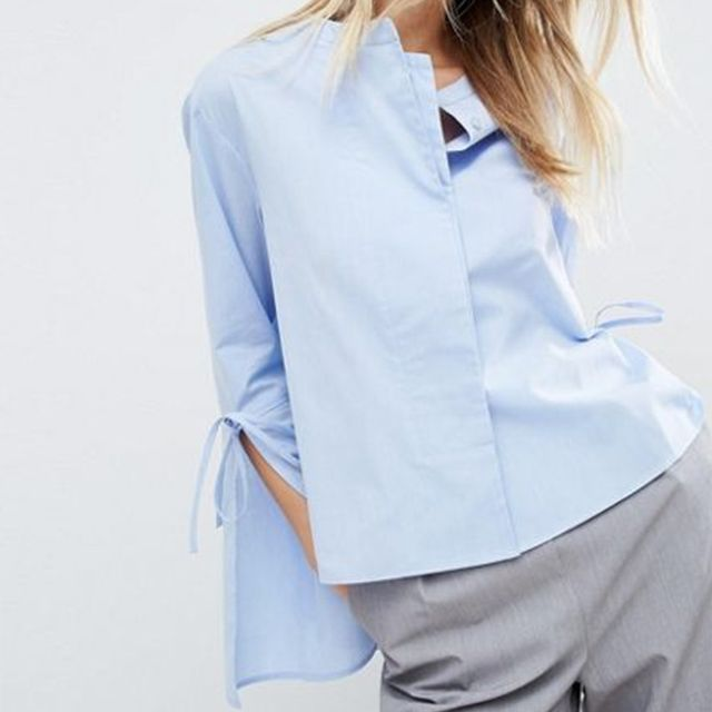 ASOS Double Layer Trapeze Shirt With Tie Sleeve