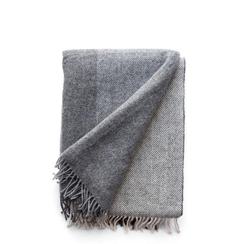 Irish Grey Block Wool Throw