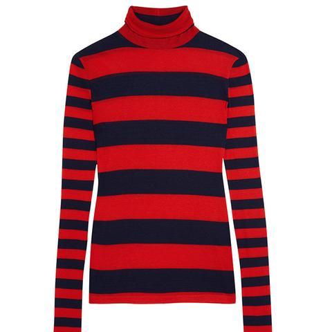 Striped Tencel and Cashmere-Blend Turtleneck