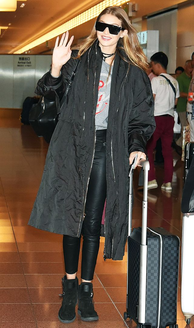 Gigi Hadid is seen upon arrival at Haneda Airport on October 11, 2016 in Tokyo, Japan.