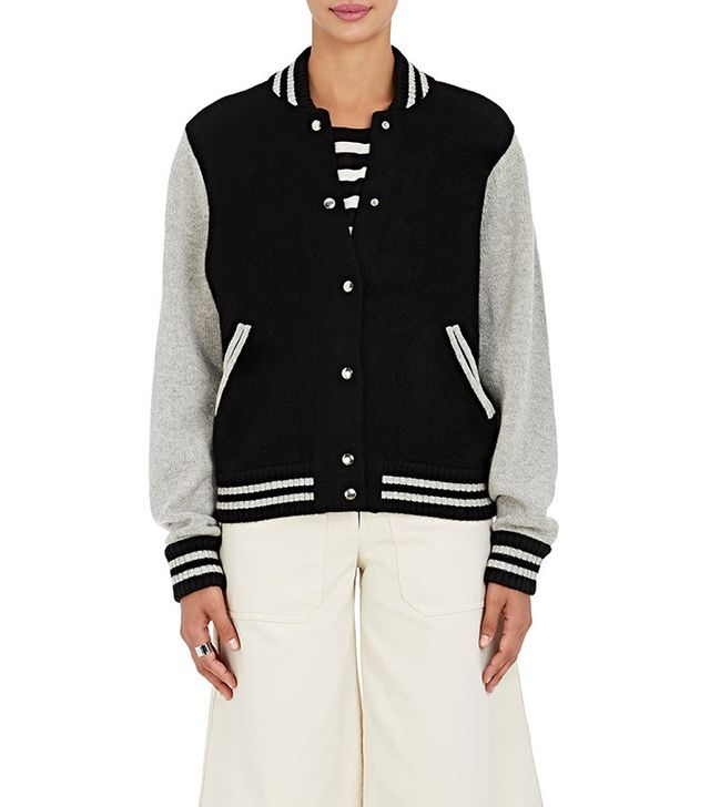 Marc Jacobs Stockinette Stitched Wool Cashmere Varsity Jacket