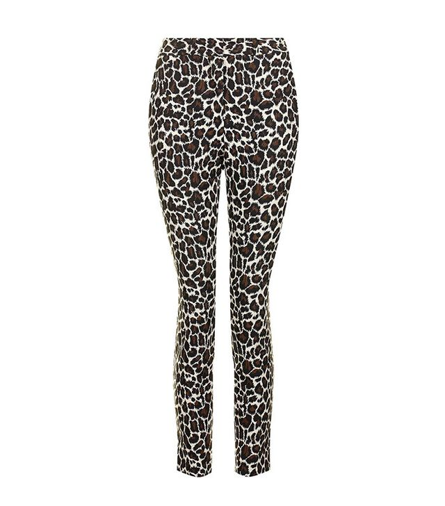 Topshop Animal Jaquard Print Cigarette Pants