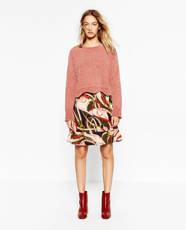 Zara Cropped Round Neck Sweater