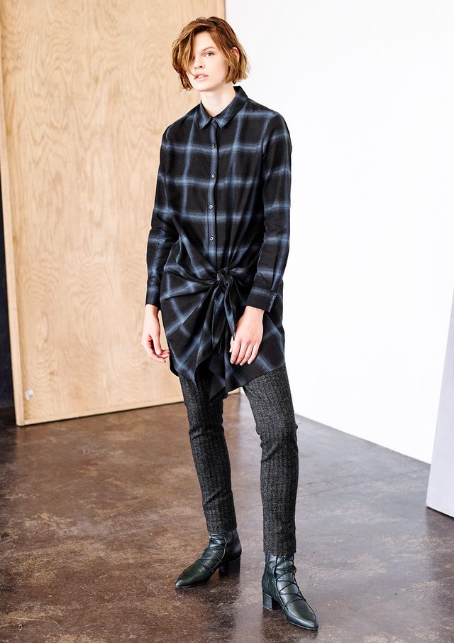 Thakoon Plaid Flannel Tie Front Shirtdress