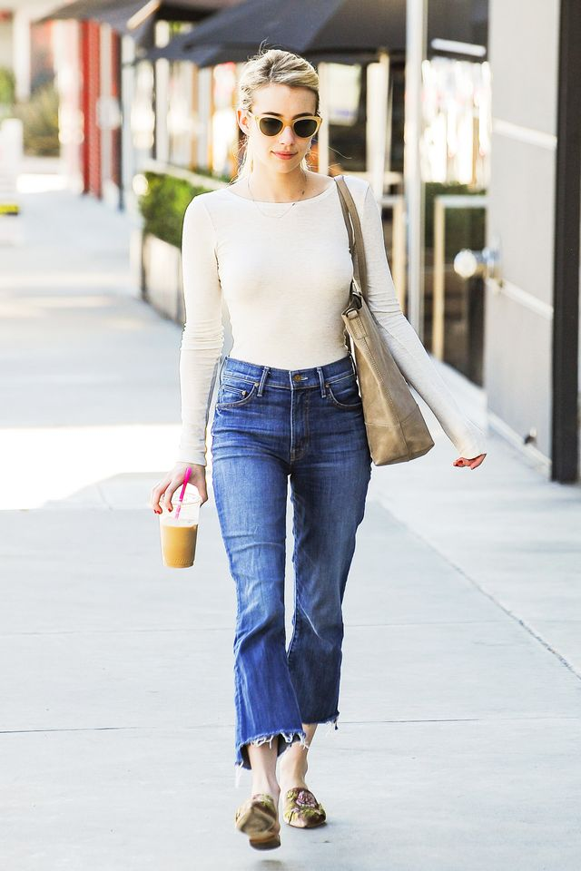 Emma Roberts Mother The Insider Crop Step Fray Jeans