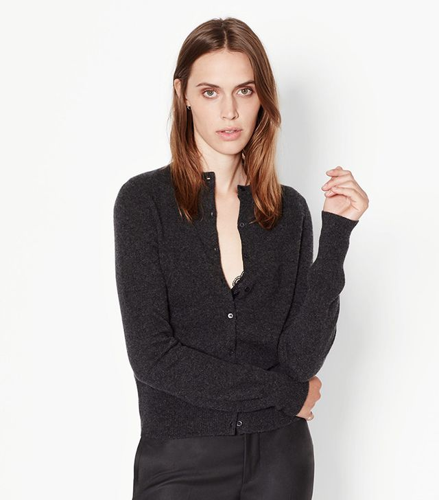 Equipment Albie Cashmere Cardigan in Charcoal Heather Grey