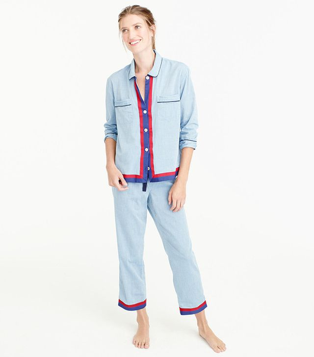J Crew Chambray Pajama Set with Grosgrain Trim