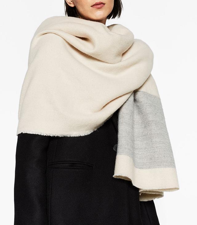 Zara Soft Wide Striped Scarf