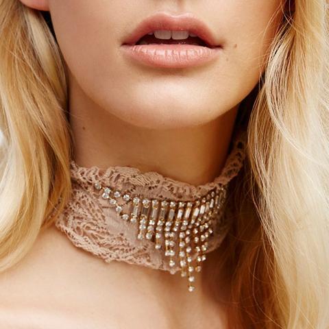 Lacey Lace Embellished Choker