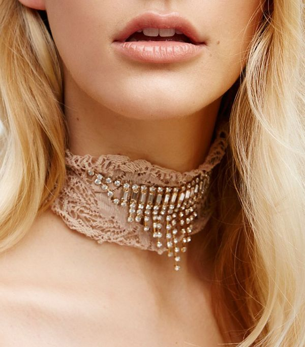 Free People Lacey Lace Embellished Choker