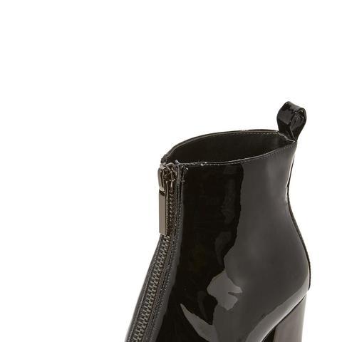Raquel Patent Zip-Up Booties