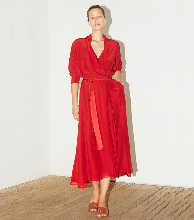 Datura Passion Red Silk Kimono Dress