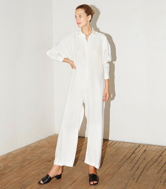Datura White Linen Ren Jumpsuit