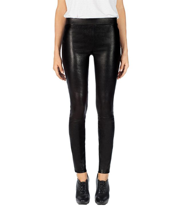 J Brand Edita Mid-Rise Leather Leggings
