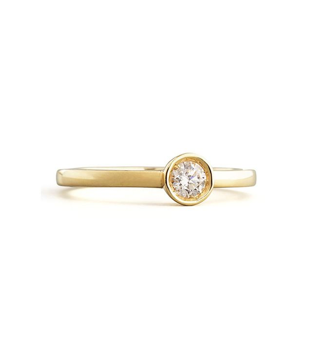 Robert Coin 18k Yellow Gold Diamond Solitaire Station Ring
