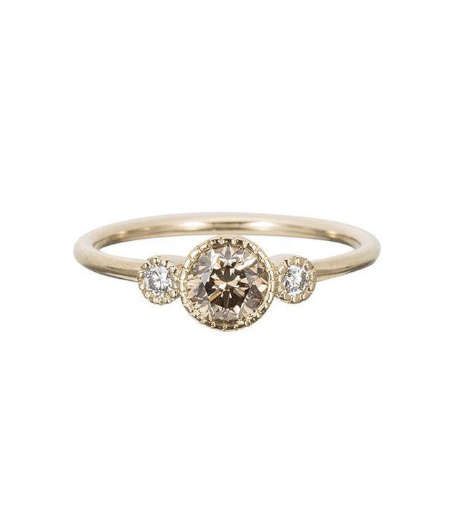 Jennie Know Designs Champagne Diamond Round Ring