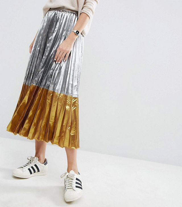ASOS Pleated Midi Skirt in Metallic with Contrast Hem