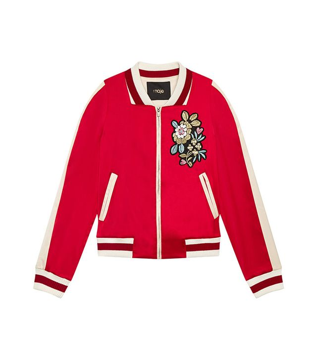 Maje Bob Varsity-Style Embroidered Satin Jacket