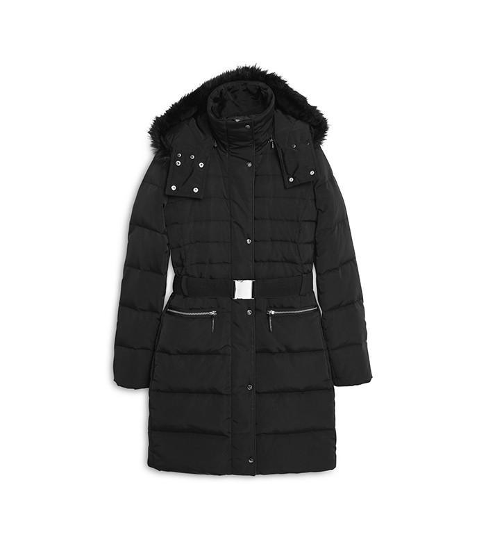 Mango Detachable Hood Quilted Coat