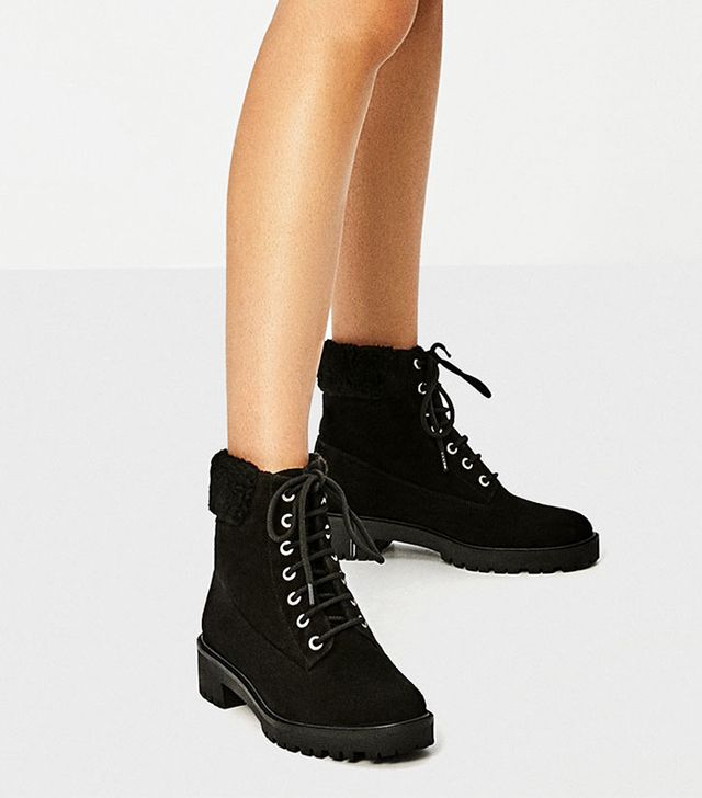 Zara Track Sole Leather Ankle Boots