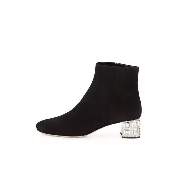 Miu Miu Suede Jewel-Heel Ankle Boot