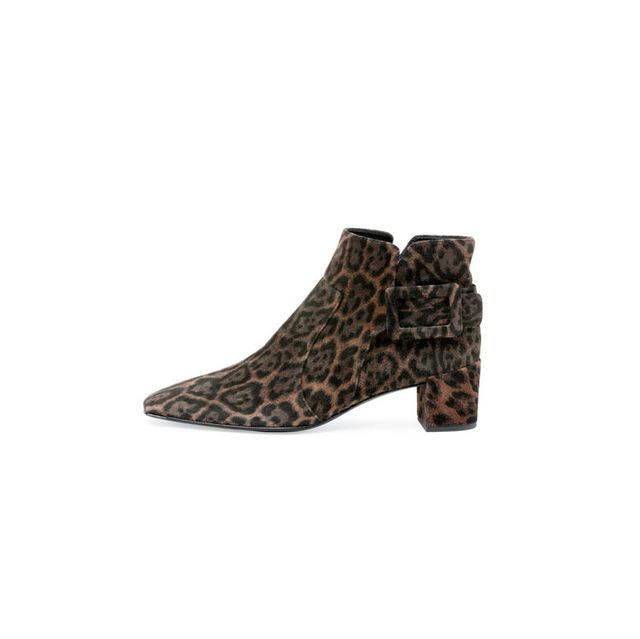 Roger Vivier Polly Leopard-Print Suede Bootie