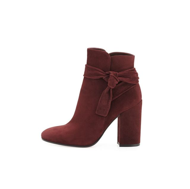 Gianvito Rossi Suede Ankle-Tie Bootie