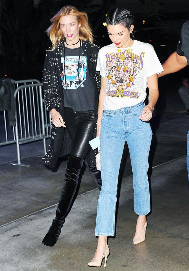 On Kendall Jenner: Manolo Blahnik Tayler Leather d'Orsay Pumps($735).