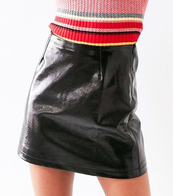 Cooperative Clean Patent Vegan Leather Mini Skirt